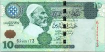 Libia 10 Dinar Omar El Mukhtar - Fortaleza - Multitud de personas - 2004