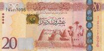 Libia 20 Dinars - Escuela en Ghadames - Mezquita de Al-Ateeq - 2012