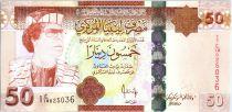 Libye 50 Dinars - Mouammar Kadhafi - Immeuble - 2008