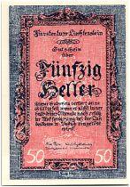 Liechtenstein 50 Heller  Paysage  - 1920