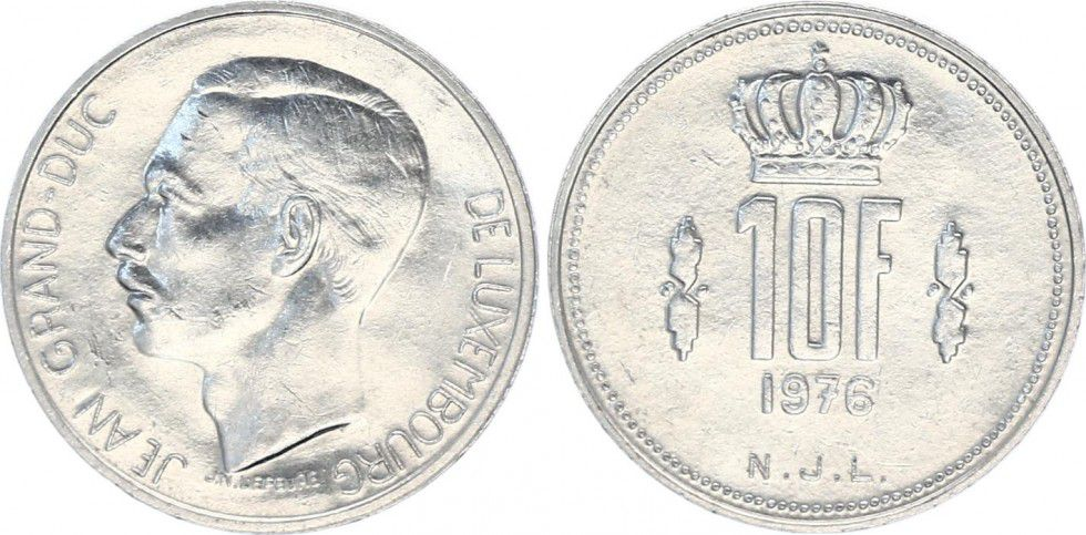 Luxembourg 10 Francs Duke Jean - 1976