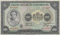Luxembourg 100 Francs Grand Duchess Charloote - Womand and Globe - 1944 Serial A