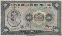 Luxembourg 100 Francs Grand Duchess Charloote - Womand and Globe - 1944 Serial E