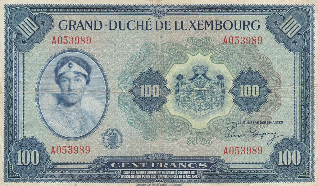 Luxembourg 100 Francs Grand Duchess Charlotte - 1944 - F