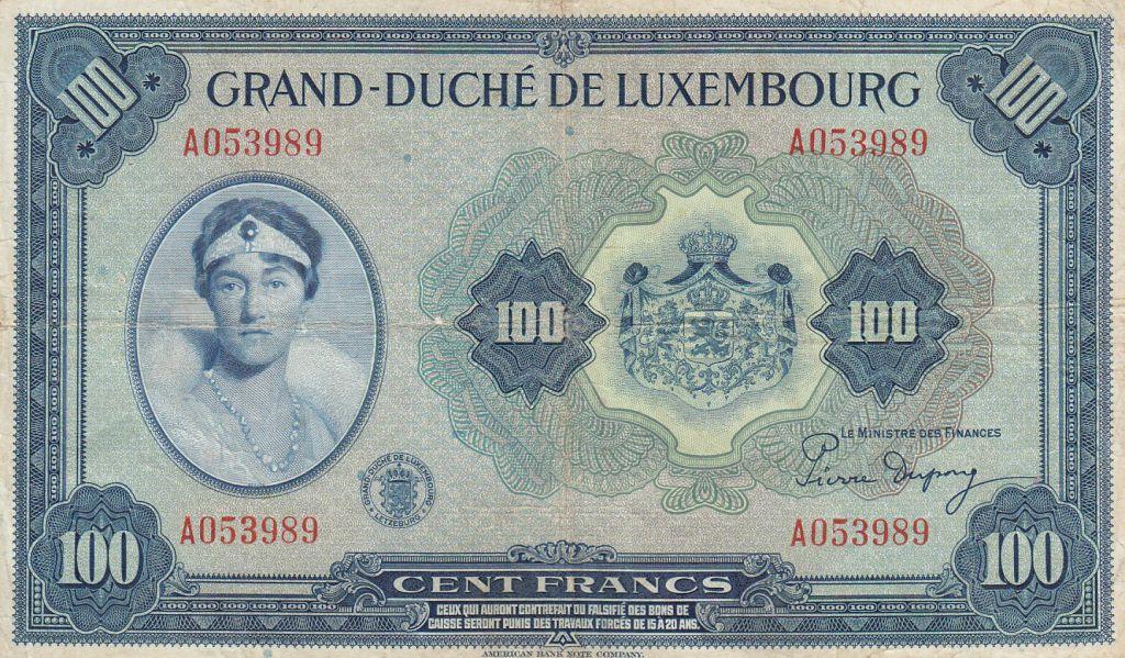 Luxembourg 100 Francs Grande Duchesse Charlotte - 1944 - Série A - TB