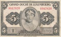 Luxembourg 5 Francs Grand Duchess Charlotte - 1944 - Serial A - VF