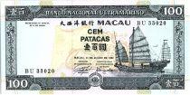 Macao 100 Patacas, Junk - City view - 1992  P.68