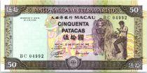 Macao 50 Patacas Dancer, Dragon - Bridge and City view - 1992