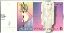 Macédoine 10 Denari,  Statue, mosaïque paon - 1996 - P.14 a