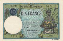 Madagascar 10 Francs Jeune fille - ND1927-37