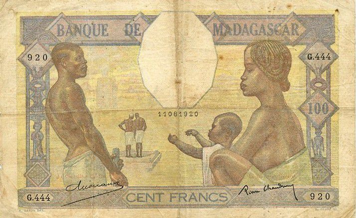 Banknote Madagascar 100 Francs Fortuna And Symbols Of Agriculture