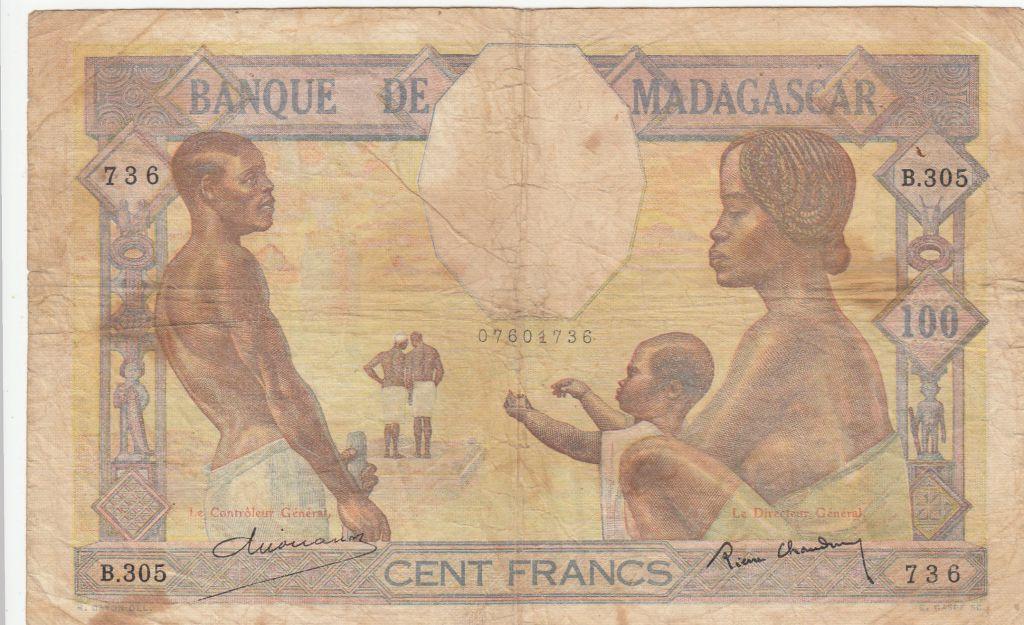 Madagascar 100 Francs ND1937 - Famille, Agriculture et Industrie