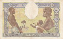 Madagascar 100 Francs ND1937 - Fortuna and symbols of agriculture and industry
