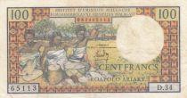 Madagascar 100 Francs Tissage , Arbres  - 1966 Série D.34