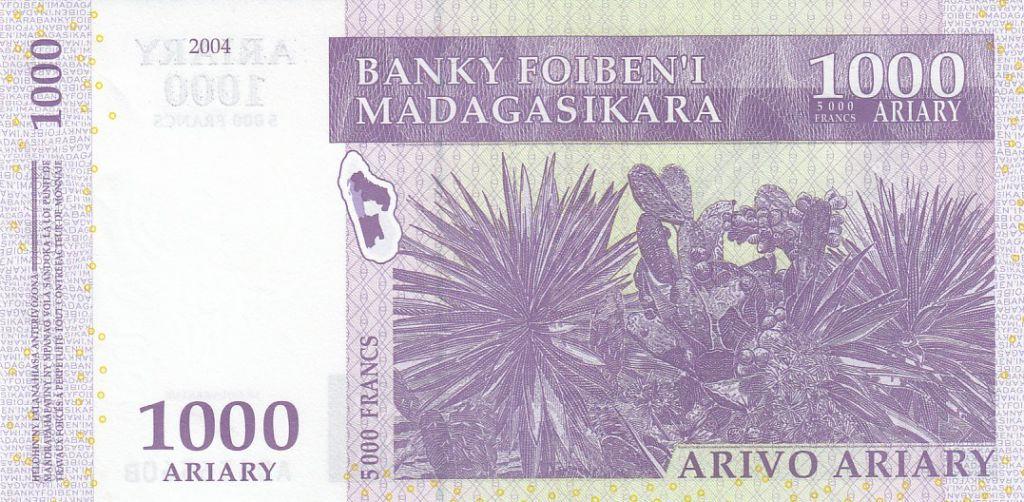 Madagascar 1000 Ariary - Lémuriens - Cactus  - Signature 5 - 2004