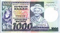 Madagascar 1000 Francs - Man et Lemurs - 1974