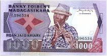 Madagascar 1000 Francs - Musician - Flowers - 1983