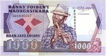 Madagascar 1000 Francs - Musician - Flowers - 1993