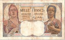 Madagascar 1000 Francs French Republic and african woman - 1937