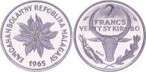 Madagascar 2 Francs - 1965 - Test Strike - Madagascar Republic