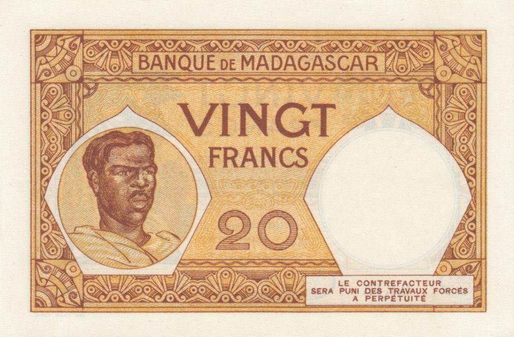 Madagascar 20 Francs France, femme malgache - ND (1937-47) - Série W.314