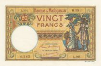 Madagascar 20 Francs Type 1926 - ND (1937-47)- Serial L.591 - P.37