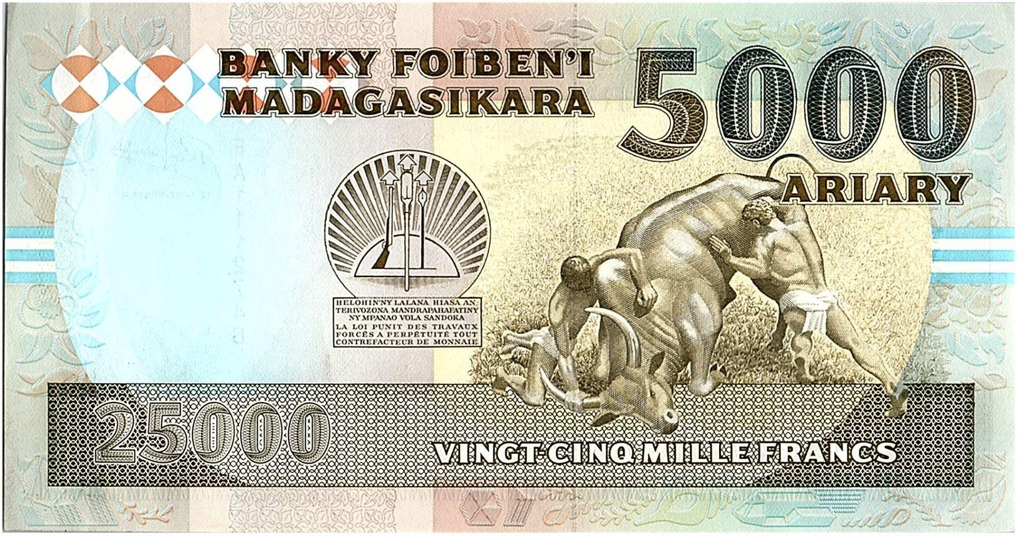 Madagascar 25000 Francs Viel Homme - Combat Traditionel - 1993