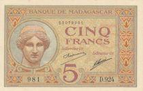 Madagascar 5 Francs Déesse Junon - 1937 - Sign. Saurin