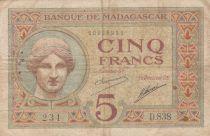 Madagascar 5 Francs Déesse Junon - ND1927-37