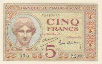 Madagascar 5 Francs Goddess Juno - 1937 - Sign. Chaudun - P.35
