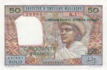 Madagascar 50 Francs Femme à chapeau - 1969 -  Série K 1 - Neuf