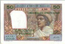 Madagascar 50 Francs Femme à chapeau - 1969 - A.60 81512