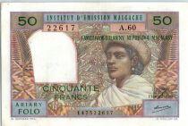 Madagascar 50 Francs Femme à chapeau - 1969 - A.60
