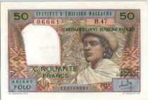 Madagascar 50 Francs Femme à chapeau - 1969 - B.47