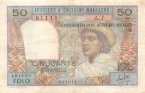 Madagascar 50 Francs Femme à chapeau - 1969 - Série A.7 - TB+