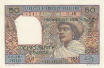 Madagascar 50 Francs Femme à chapeau - 1969 - Série G.46 - SPL