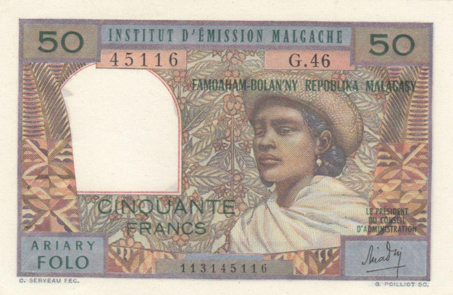 Madagascar 50 Francs Femme à chapeau - 1969 - Série G.46