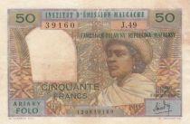 Madagascar 50 Francs Femme à chapeau - 1969 - Série J.49 - TB - P.61