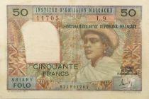 Madagascar 50 Francs Femme à chapeau - 1969 - Série L.9 - TB+