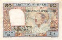 Madagascar 50 Francs Femme à chapeau - 1969 - Série P.7 - PTB