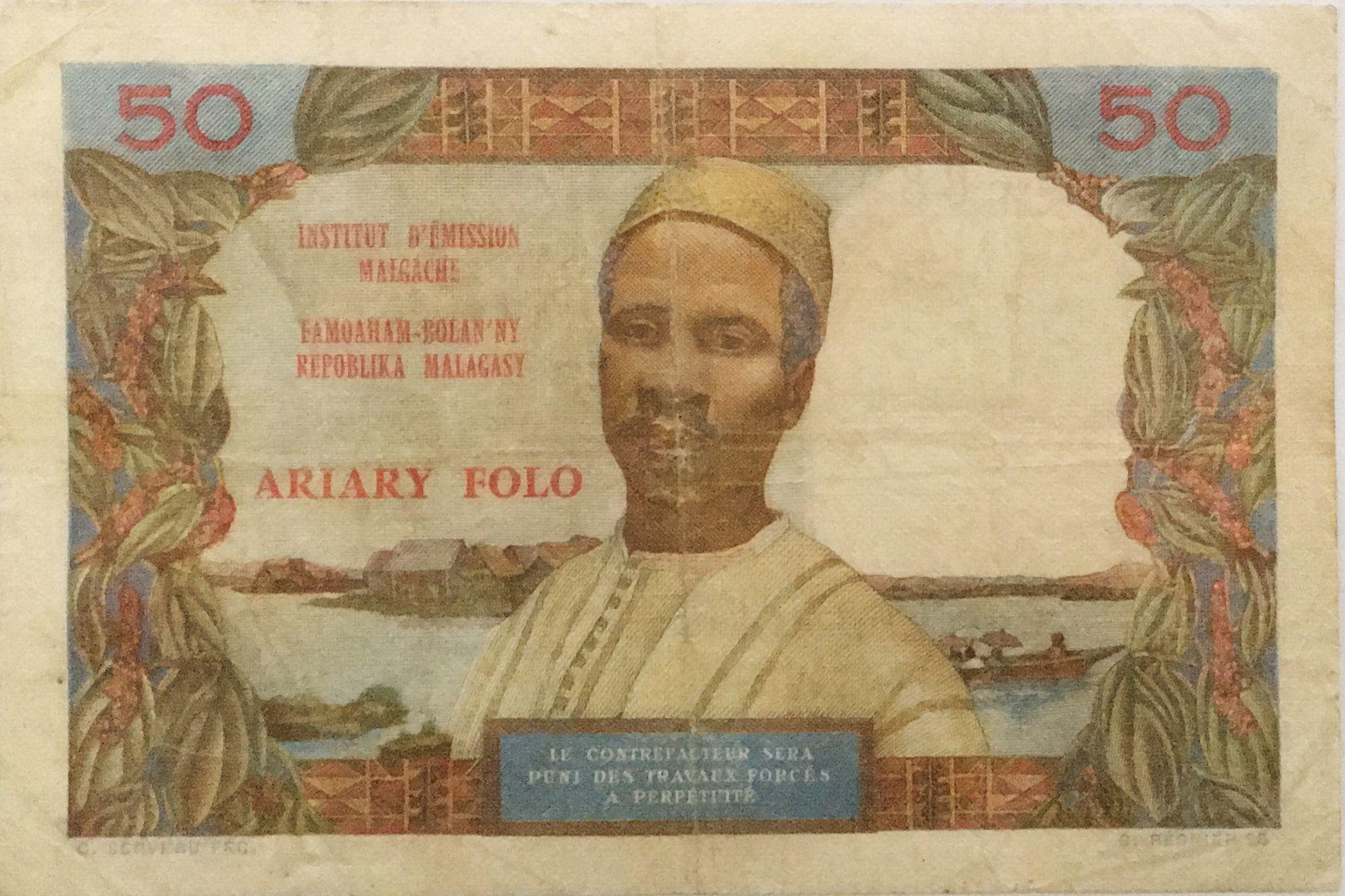 Madagascar 50 Francs Femme à chapeau - 1969 - Série P.7 - TB+
