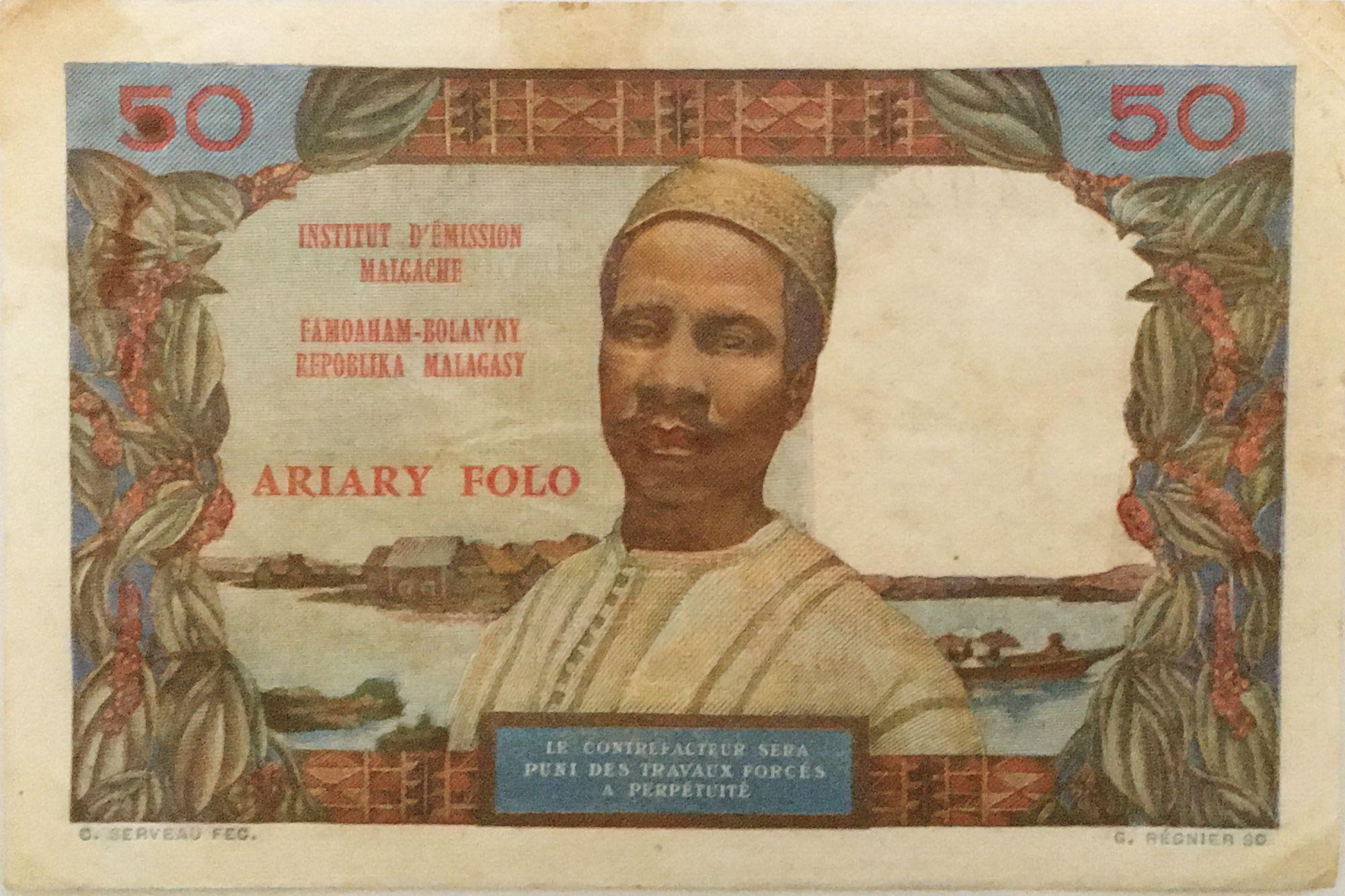 Madagascar 50 Francs Femme à chapeau - 1969 - Série R.9 - TB+