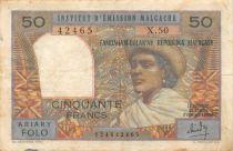 Madagascar 50 Francs Femme à chapeau - 1969 - Série X.50 - TB+