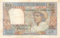 Madagascar 50 Francs Woman and Hat - 1969 - Serial A.7 - F+