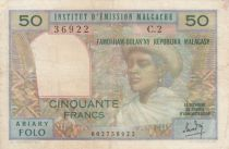 Madagascar 50 Francs Woman and Hat - 1969 - Serial C.2 - F to VF - P.61