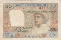 Madagascar 50 Francs Woman and Hat - 1969 - Serial H.12 - Fine - P.61
