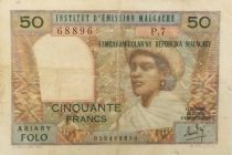 Madagascar 50 Francs Woman and Hat - 1969 - Serial P.7 - F+