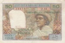Madagascar 50 Francs Woman and Hat - 1969 - Serial Q.18 - VF - P.61