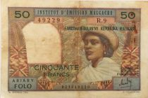 Madagascar 50 Francs Woman and Hat - 1969 - Serial R.9 - F+
