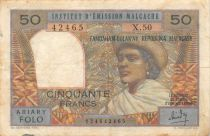 Madagascar 50 Francs Woman and Hat - 1969 - Serial X.50 - F+